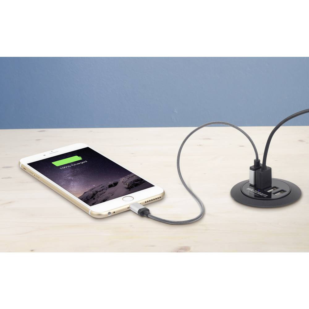 USB-polnilna vtičnica VOLTCRAFT DAPS-4000/4+ izhodni tok (maks.) 6000 mA 4 x USB Möbeleinbau