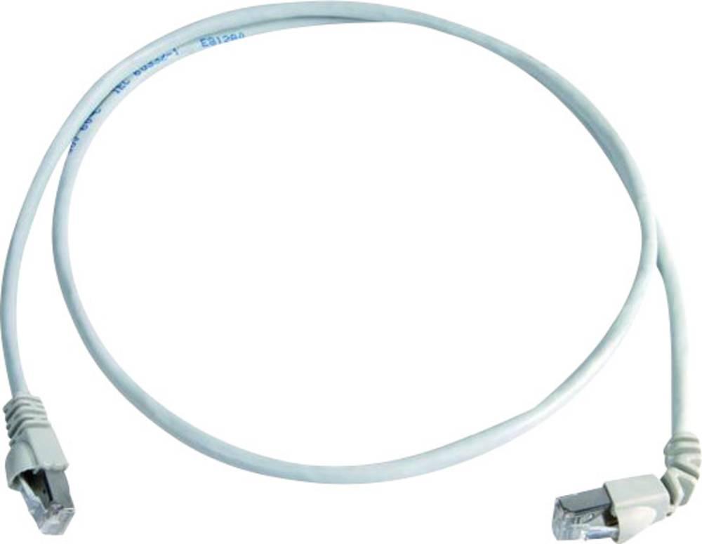 RJ45 omrežni priključni kabel CAT 6A S/FTP 1 m bele barve z zaščito pred gorenjem, brez halogena Telegärtner