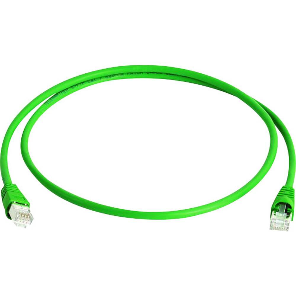 RJ45 omrežni priključni kabel CAT 6A S/FTP 25 m zelene barve z zaščito pred gorenjem, brez halogena Telegärtner