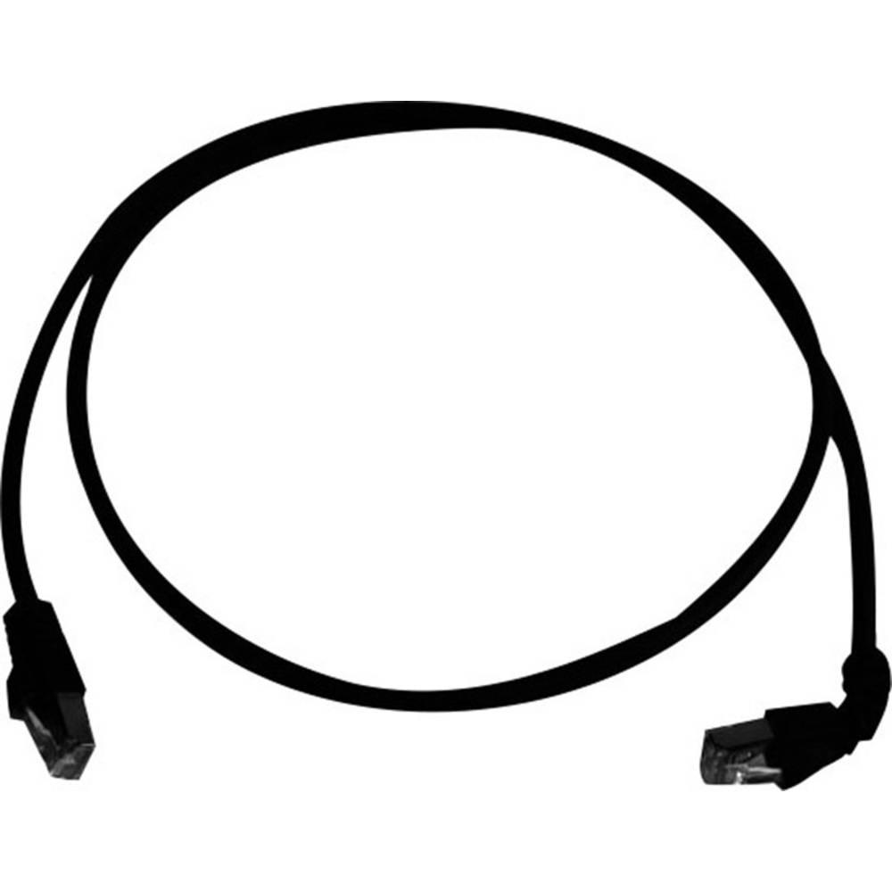 RJ45 omrežni priključni kabel CAT 6A S/FTP 3 m črne barve z zaščito pred gorenjem, brez halogena Telegärtner