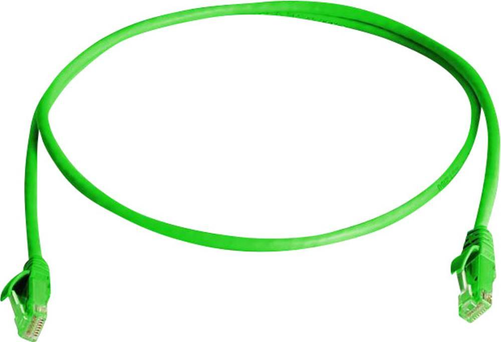 RJ45 omrežni priključni kabel CAT 5e U/UTP 0.50 m zelene barve z zaščito pred gorenjem, brez halogena Telegärtner