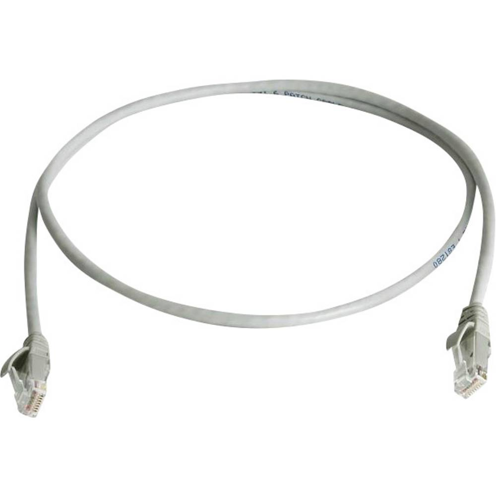 RJ45 omrežni priključni kabel CAT 5e U/UTP 1.50 m sive barve z zaščito pred gorenjem, brez halogena Telegärtner