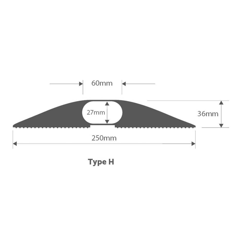 Talna zaščita za kable , industrijski, tipa H (D x Š x V) 1500 x 250 x 36 mm črne barve Vulcascot vsebuje: 1 kos