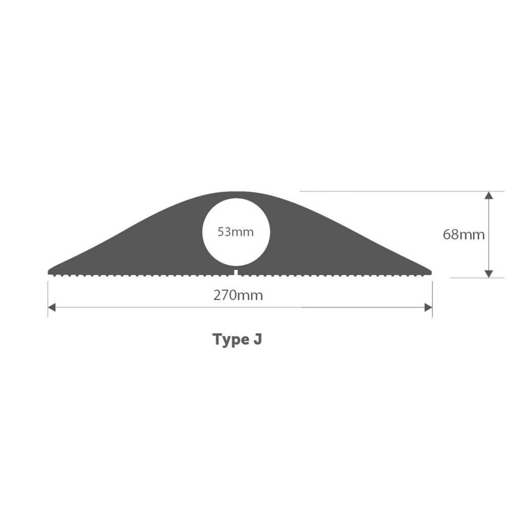 Talna zaščita za kable , industrijski, tipa J (D x Š x V) 1500 x 270 x 68 mm črne barve Vulcascot vsebuje: 1 kos