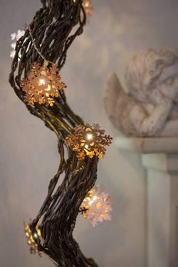 Motiv-lyskæde Konstsmide koppar blommor Snefnug Varm hvid 1.2 m Batteridrevet