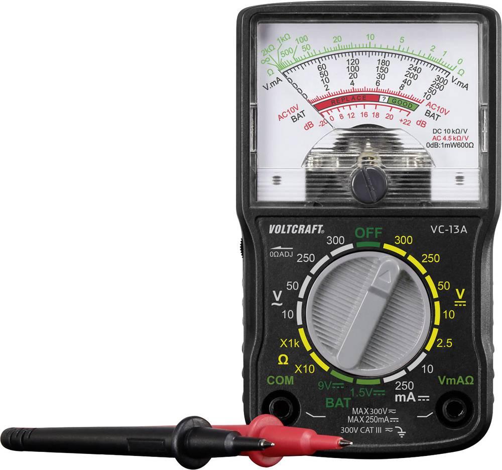 Ročni multimeter, analogni VOLTCRAFT VC-13A kalibracija narejena po: delovnih standardih, CAT III 300 V