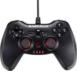 Handkontroll Basetech USB Vibration PC, PlayStation® 3 Svart, Röd