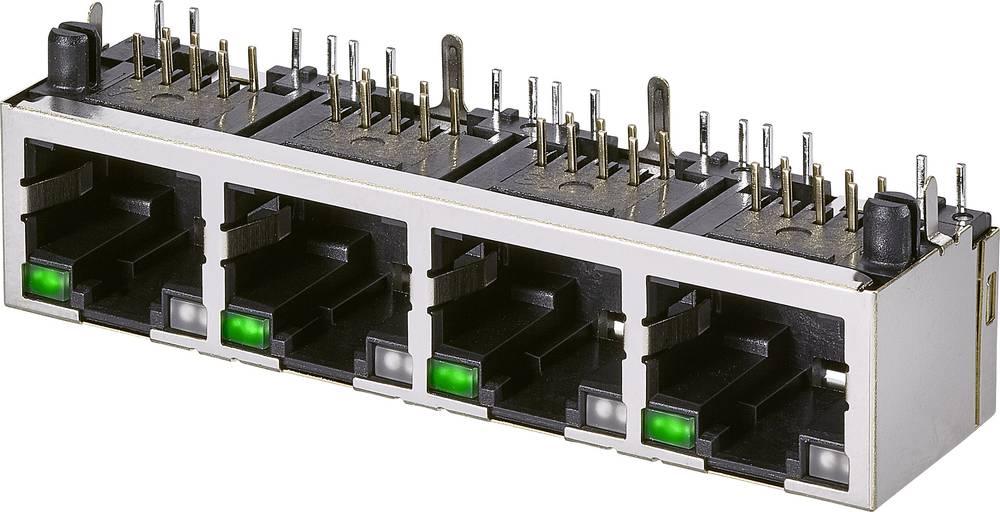 Modularna vgradna vtičnica, 1x4 vhodi, CAT 3 vtičnica, vodoravna namestitev, št. polov: 8P8C A63-143-313P161 kovinska EDAC A63-1