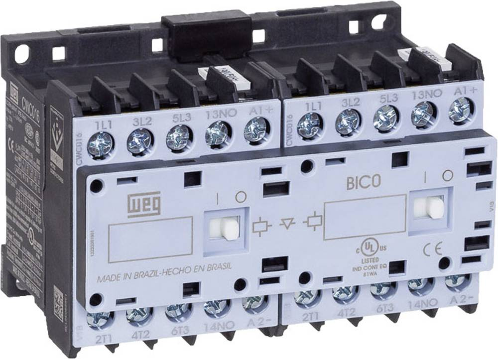 Vendekontaktor 1 stk CWCI07-10-30C03 WEG 6 lukker 3 kW 24 V/DC 7 A med hjælpekontakt