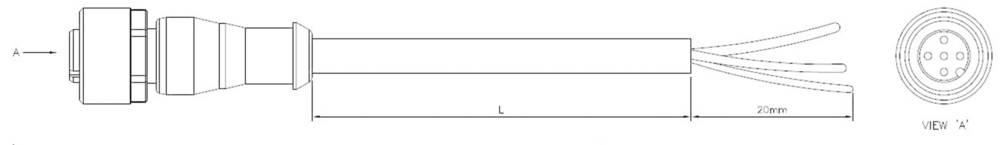 Aktuatorsko-senzorski priključni kabel, ravna vtičnica M12 z odprtim koncem, št. polov: 5 1-2273035-1 TE Connectivity vsebina: 1