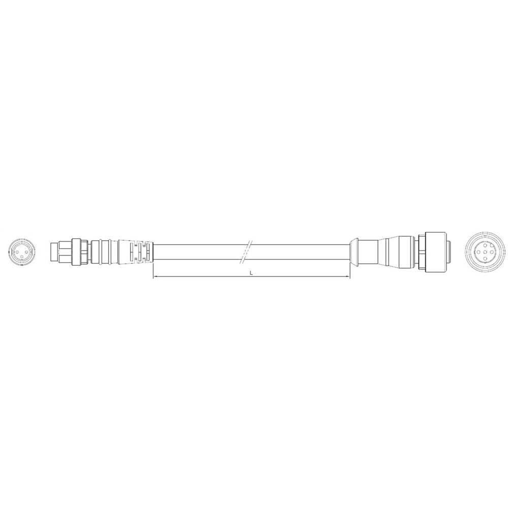 Povezovalni vodnik, M12, raven št. polov: 3 1-2273112-4 TE Connectivity vsebina: 1 kos