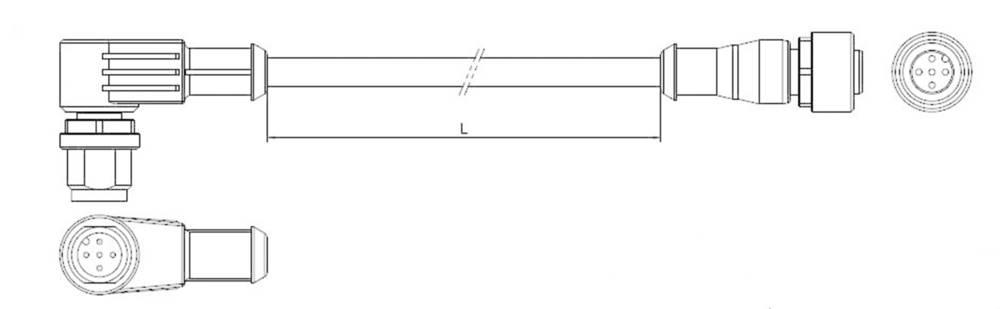 Povezovalni vodnik, M12 kotni vtič, M12 ravna vtičnica št. polov: 5 1-2273122-4 TE Connectivity vsebina: 1 kos