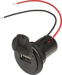 ProCar Power USB Einbausteckdose EV mit Gewindehülse und Deckel 12 V til 5 V, 24 V til 5 V 3 A Kabel afisoleret