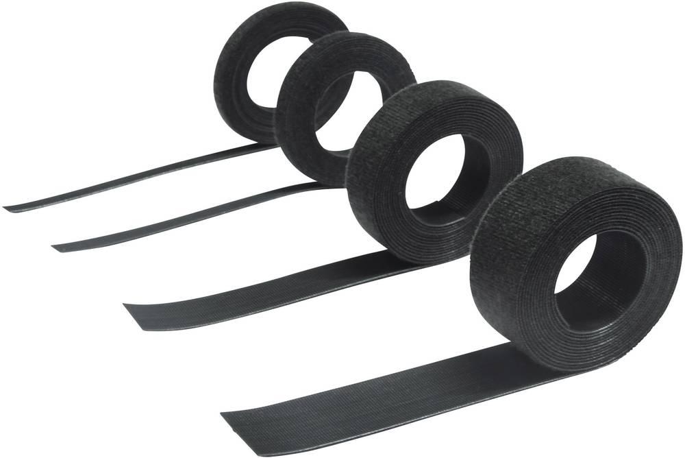 Trak z ježkom za vezanje pritrdilni in flis del (D x Š) 2500 mm x 7.5 mm črne barve Hebotec 11-KE07002,5FRT 2.5 m