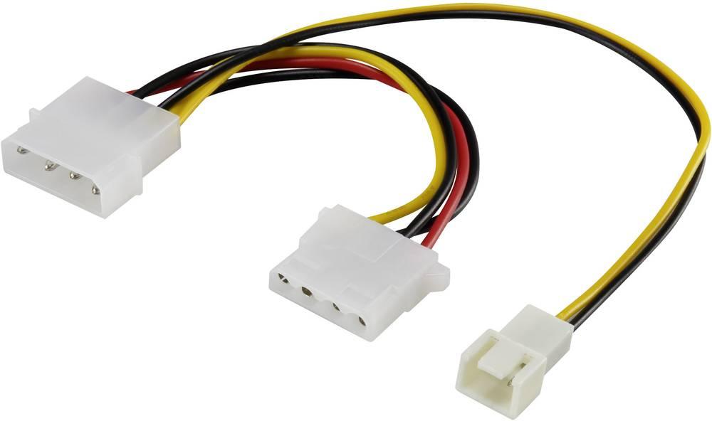 Y-kabel za PC ventilator [1x računalniški ventilatorski vtič 3 polni - 1x IDE-električna vtičnica 4 polni, IDE-električni vtič 4