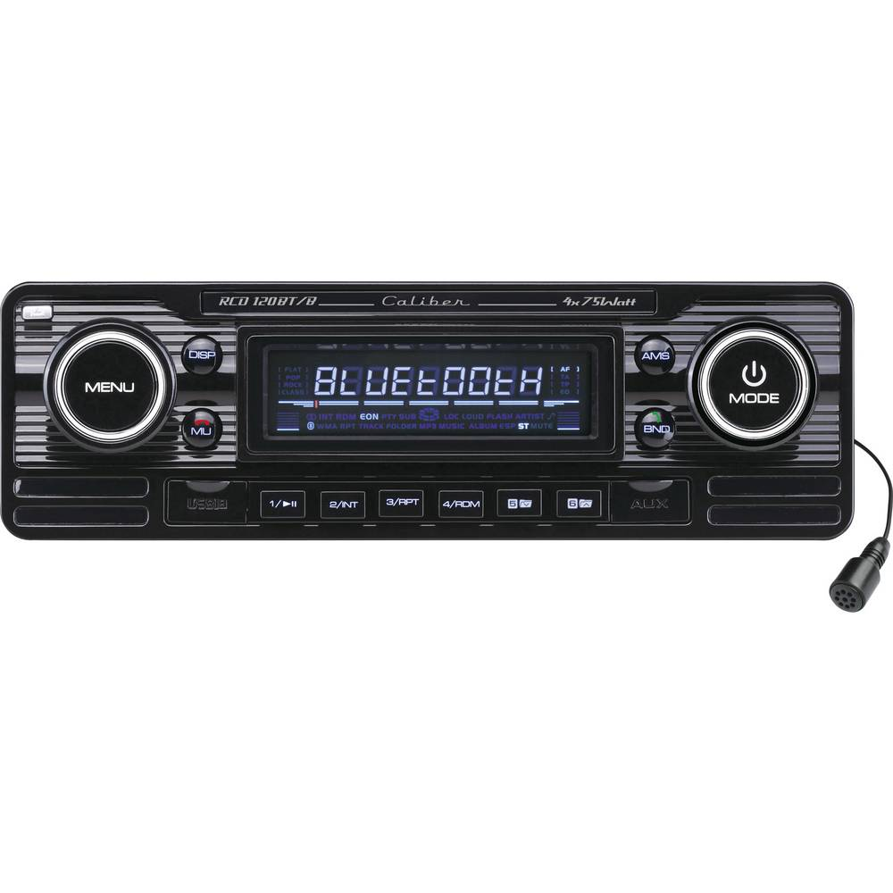 Bilradio Caliber Audio Technology RCD-120BT/B Retro design, Håndfrit Bluetooth®-system