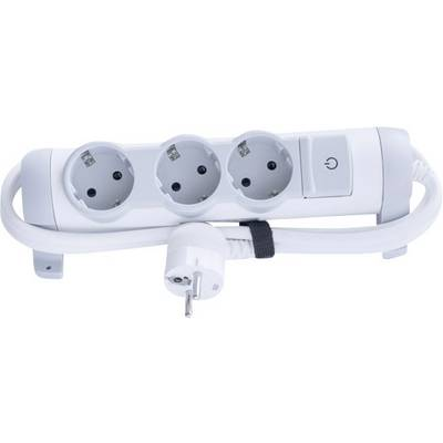 Image of Legrand 694621 Socket strip (+ switch) 3x White, Grey PG connector 1 pc(s)