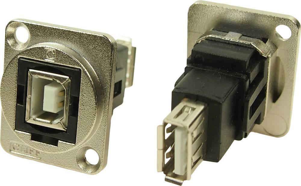 XLR adapter USB B vtičnica 2.0 na USB A vtičnico 2.0 adapter, vgradni CP30207NM Cliff vsebina: 1 kos