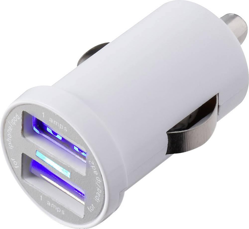 USB-oplader VOLTCRAFT CPS-2400/2WH USB CPS-2400/2WH Personbil Udgangsstrøm max. 2400 mA 2 x USB