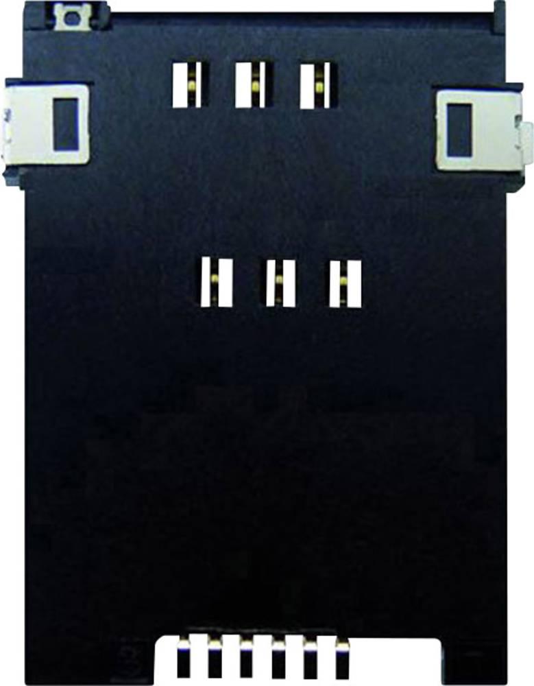 Podnožje za SIM kartico, št. kontaktov: 6 + 2 potisno, potisno Yamaichi FMS006Z-2001-1 vklj. stikalo 1 kos