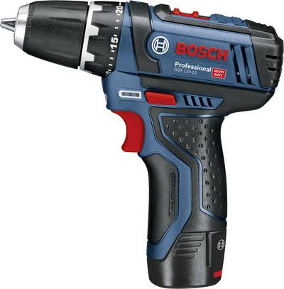 Bosch Professional GSR12V-15 Cordless drill 12 V 2 Ah Li-ion incl. spare battery, incl. accessories, incl. bag