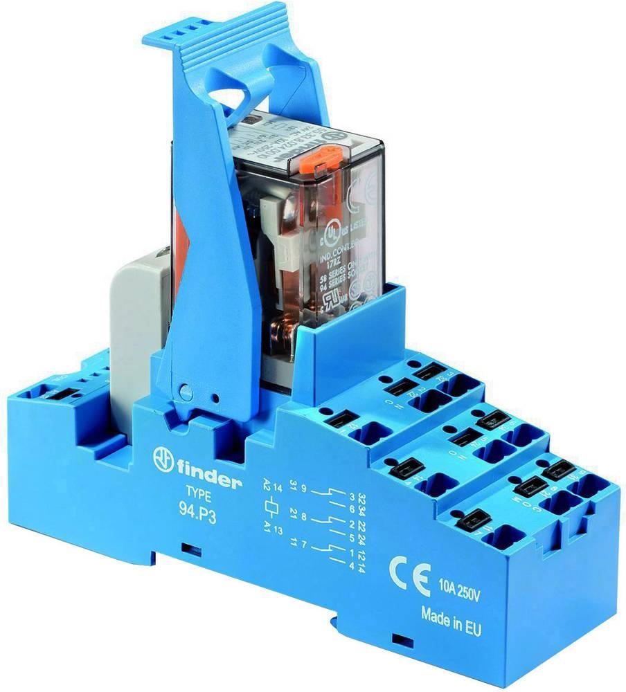 Relækomponent 1 stk Finder 58.P3.8.230.0060 Nominel spænding: 230 V/AC Brydestrøm (max.): 10 A 3 x omskifter