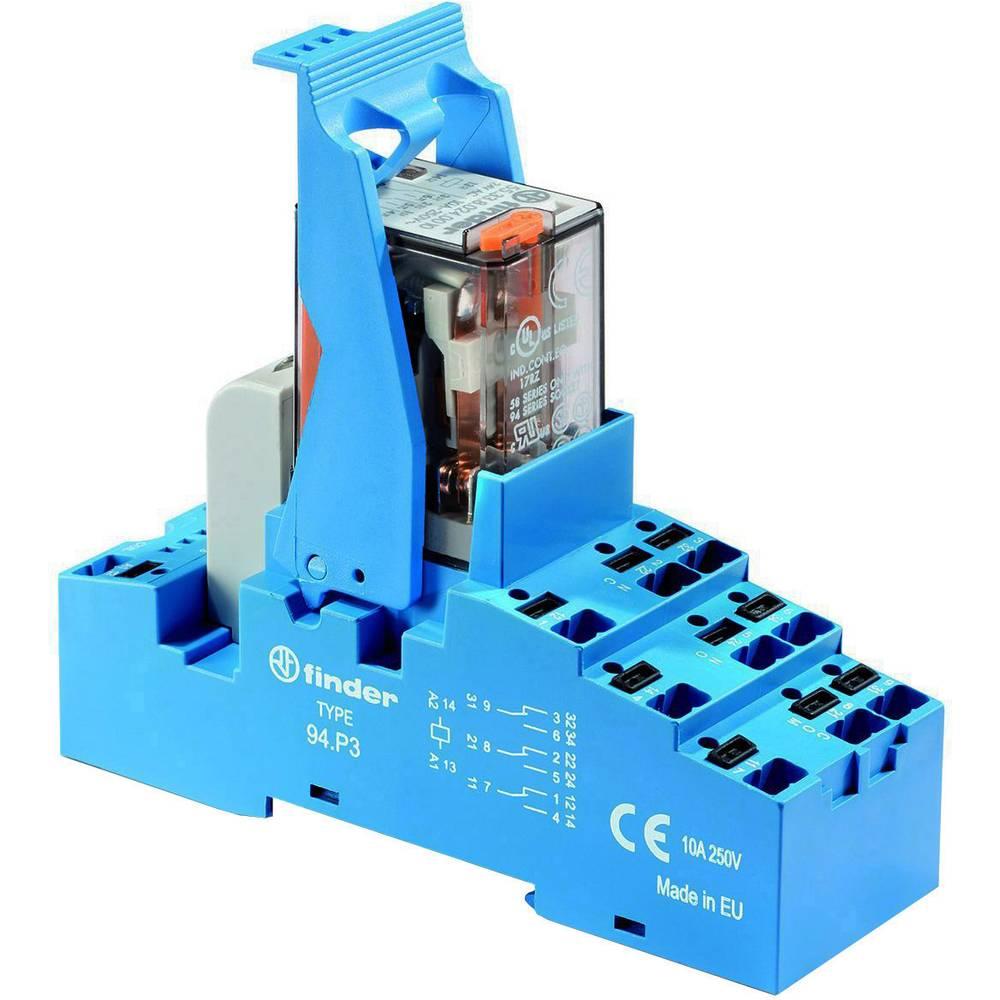 Relækomponent 1 stk Finder 58.P3.8.024.0060 Nominel spænding: 24 V/AC Brydestrøm (max.): 10 A 3 x omskifter