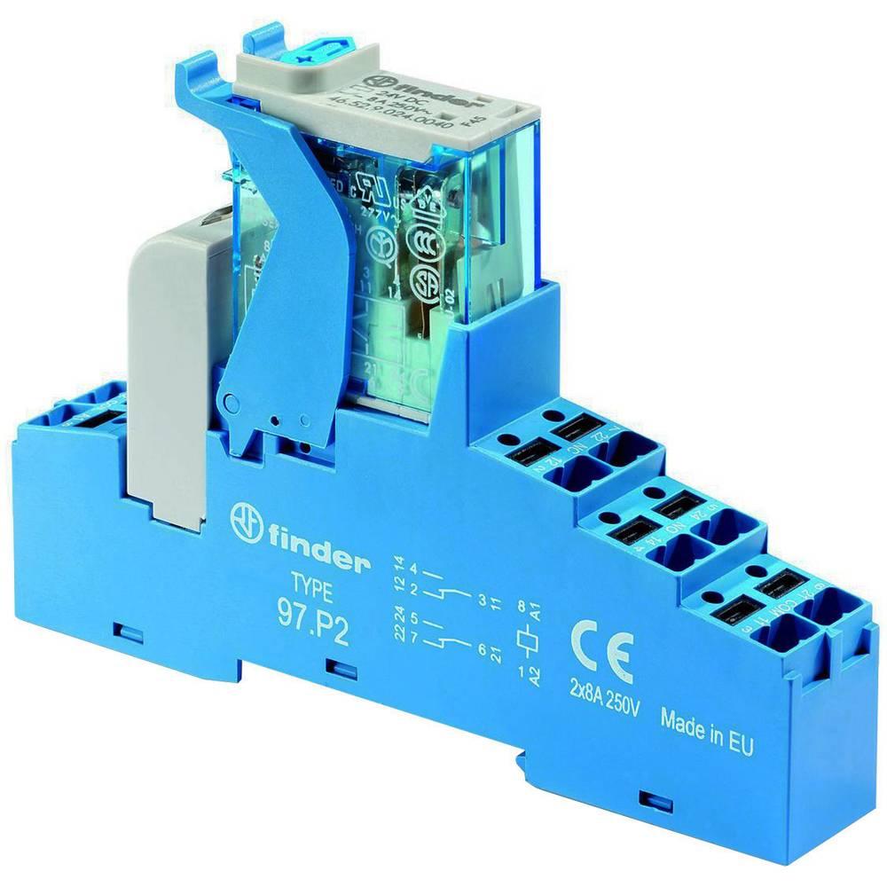 Relækomponent 1 stk Finder 4C.P2.9.024.0050 Nominel spænding: 24 V/DC Brydestrøm (max.): 8 A 2 x omskifter