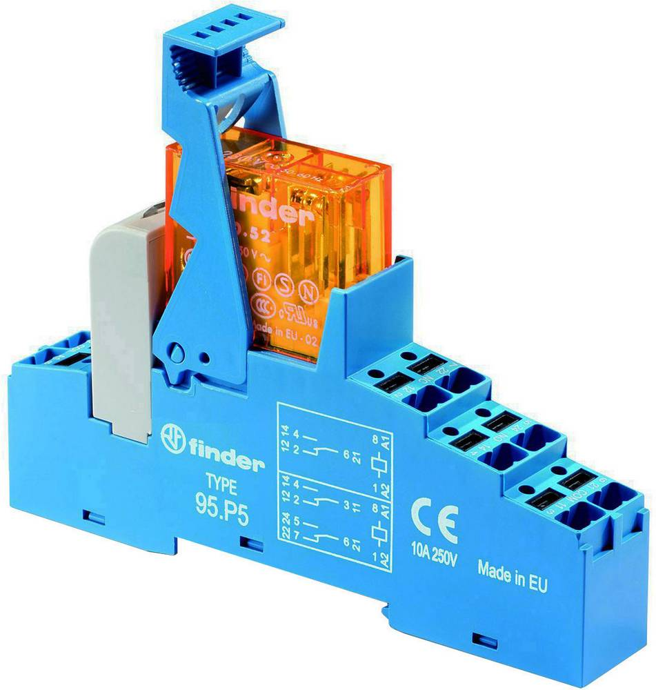 Relækomponent 1 stk Finder 48.P6.8.024.0060 Nominel spænding: 24 V/AC Brydestrøm (max.): 16 A 1 x skiftekontakt