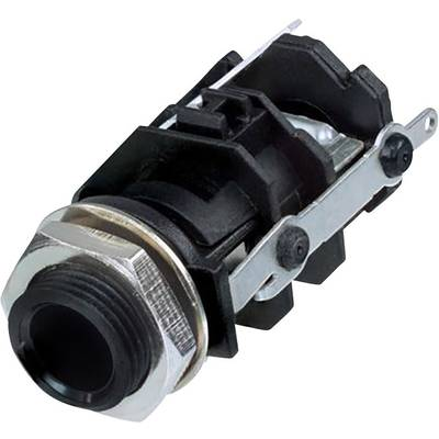 Image of Rean AV RJ3VI-S-CON 6.35 mm audio jack Socket, vertical vertical Number of pins: 3 Stereo Black 1 pc(s)