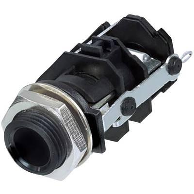 Image of Rean AV RJ3VI-CON 6.35 mm audio jack Socket, vertical vertical Number of pins: 3 Stereo Black 1 pc(s)
