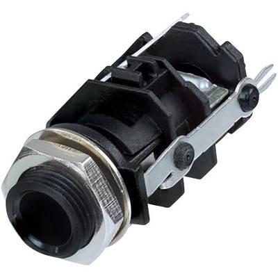 Image of Rean AV RJ3VI-D1-CON 6.35 mm audio jack Socket, vertical vertical Number of pins: 3 Stereo Black 1 pc(s)