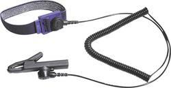 ESD zapestni trak Bernstein 9-342 z ozemljitvenim kablom, tipka 3 mm, tipka 10 mm, črn, krokodilske klešče