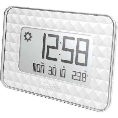 Oregon Scientific JW 208 silver Radio Wall clock 30 mm x 246 mm x 173 mm White