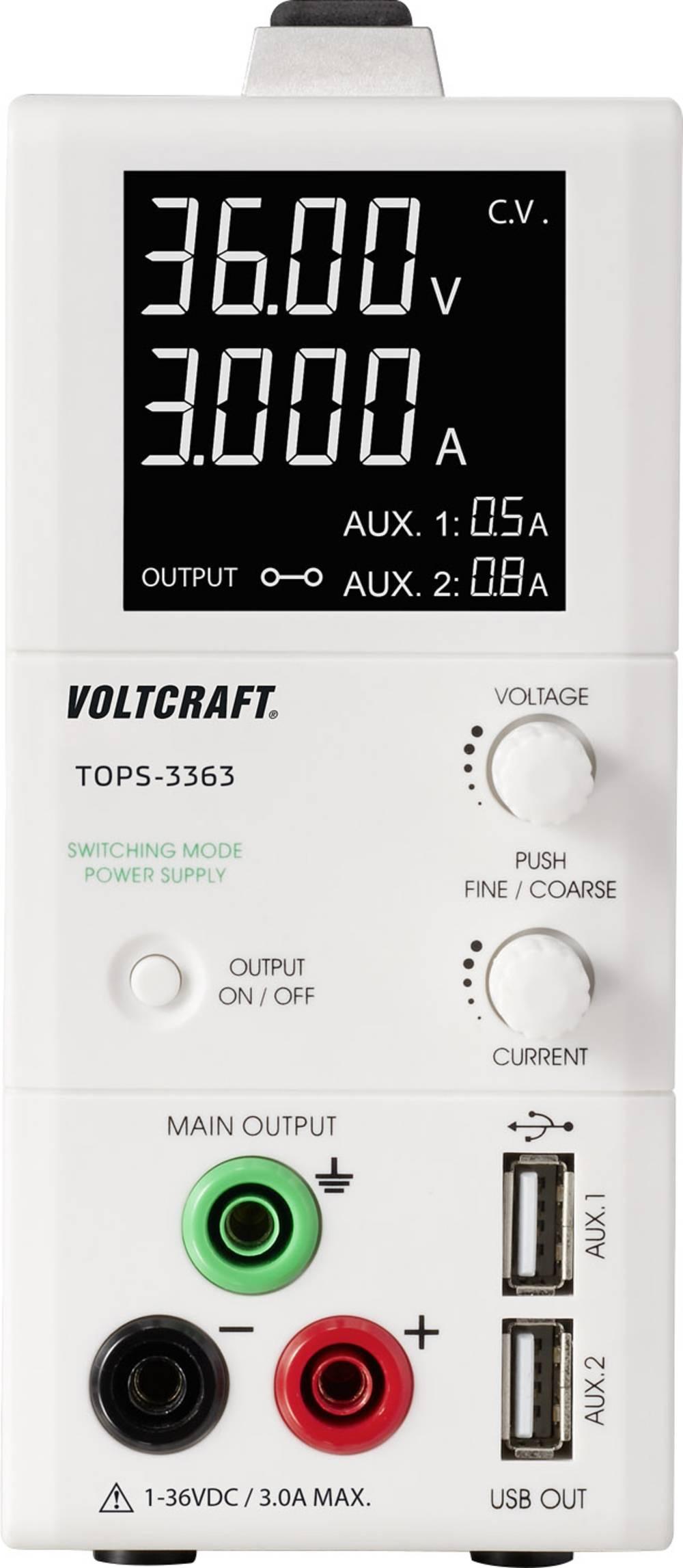 Laboratorijski napajalnik, nastavljiv VOLTCRAFT TOPS-3363 1 - 36 V/DC 0.25 - 3 A 100 W OVP, majhne oblike število izhodov: 3 x