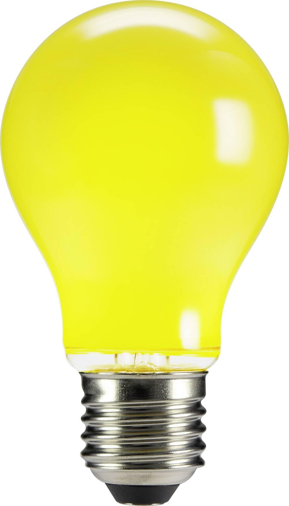 LED žarnica E27 klasična oblika 4 W rumena (premer x D) 60 mm x 105 mm EEK: n.rel. Sygonix filament 1 kos