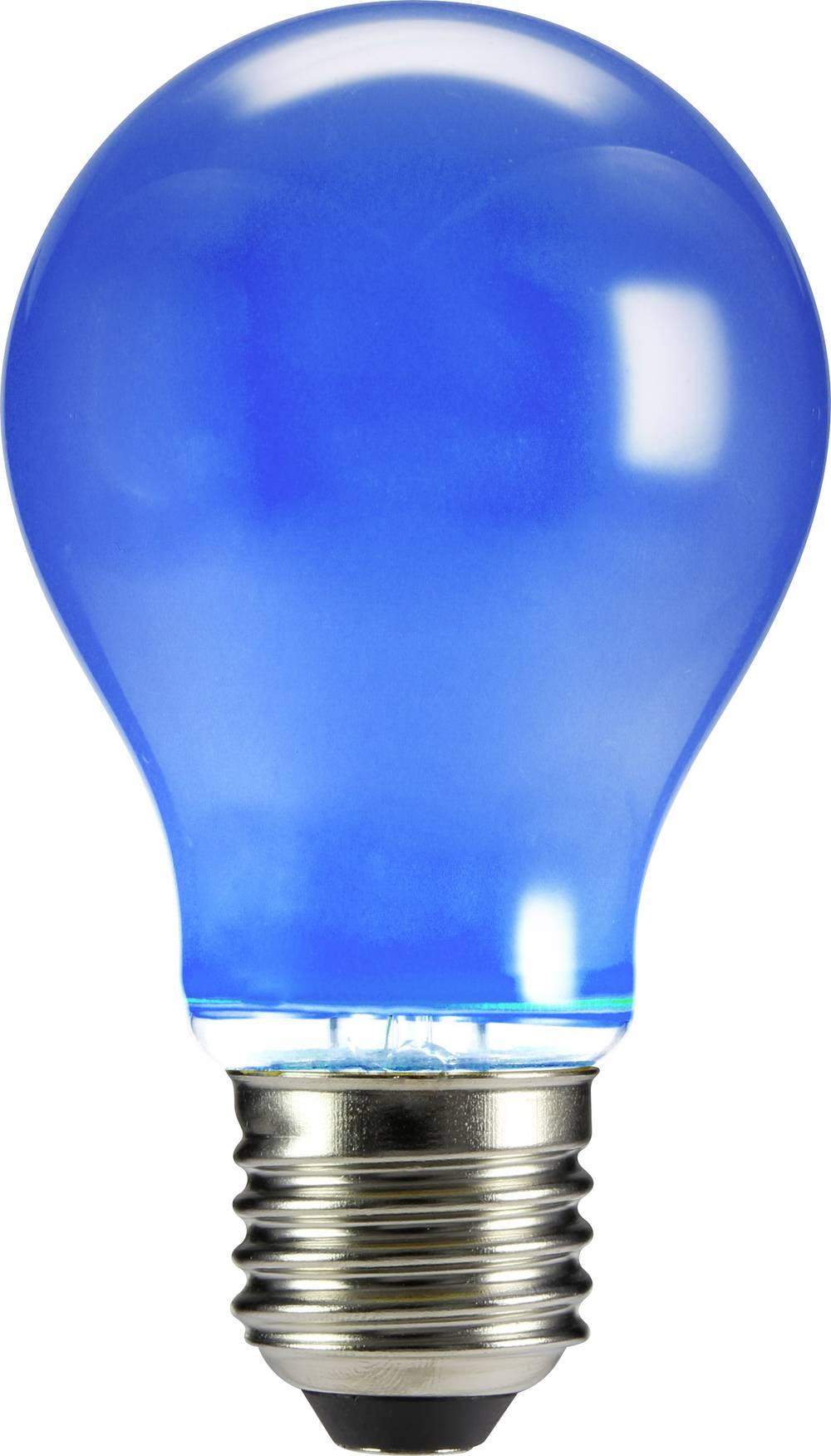 LED žarnica E27 klasična oblika 4 W modra (premer x D) 60 mm x 105 mm EEK: n.rel. Sygonix filament 1 kos