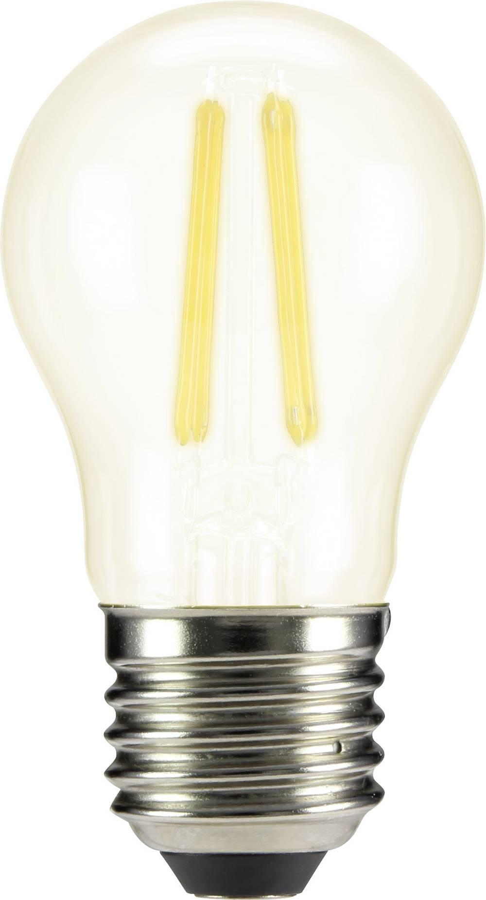 LED žarnica E27 oblika kaplje 4 W = 40 W topla bela (premer x D) 45 mm x 84 mm EEK: A++ Sygonix filament 1 kos