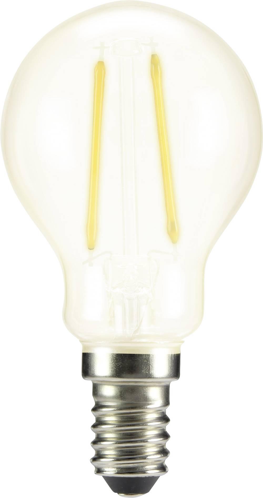 LED žarnica E14 oblika kaplje 2 W = 25 W topla bela (premer x D) 45 mm x 84 mm EEK: A++ Sygonix filament 1 kos