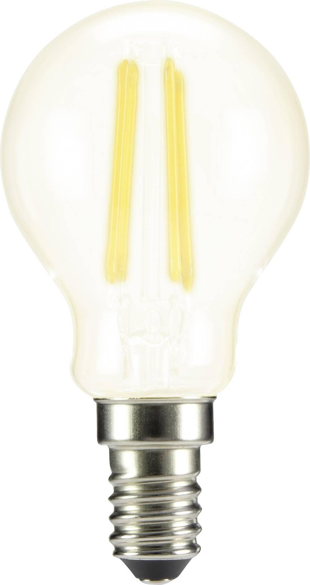 LED žarnica E14 oblika kaplje 4 W = 37 W topla bela (premer x D) 45 mm x 84 mm EEK: A++ Sygonix filament 1 kos