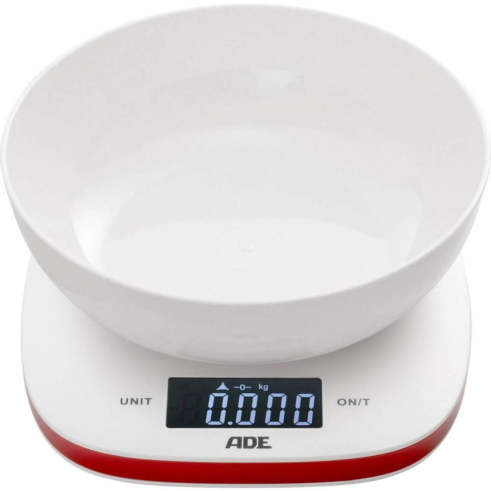 Digitalna kuhinjska vaga Amelie ADE, s mjernom posudom područje vaganja (maks.)=5 kg bijela-crvena