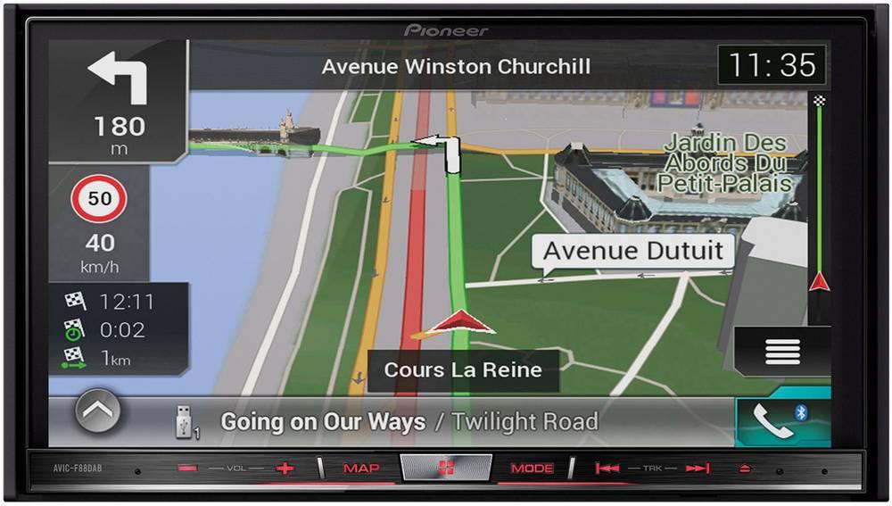 Pioneer AVIC-F88DAB Navigationsenhed, fastmontering Europa AppRadio, Håndfrit Bluetooth®-system, DAB+ tuner, Integreret navigati