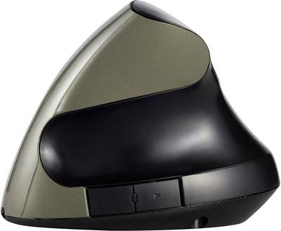 Renkforce RF-439 Wireless mouse Optical Ergonomic, Rechargeable Black, Dark green