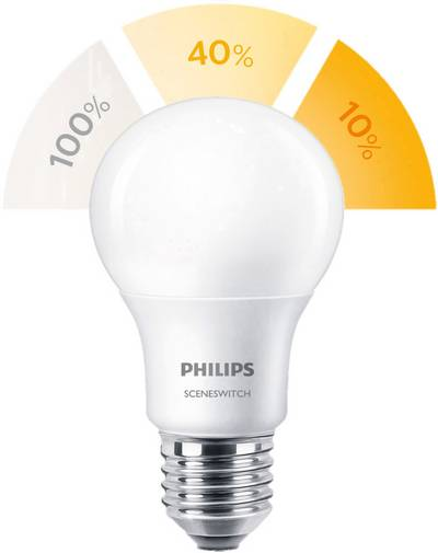 Philips Lighting LED E27 Arbitrary 8 W=60 W Warm white (Ø x L) 61 mm x 107 mm EEC: A+ SceneSwitch 1 pc(s)