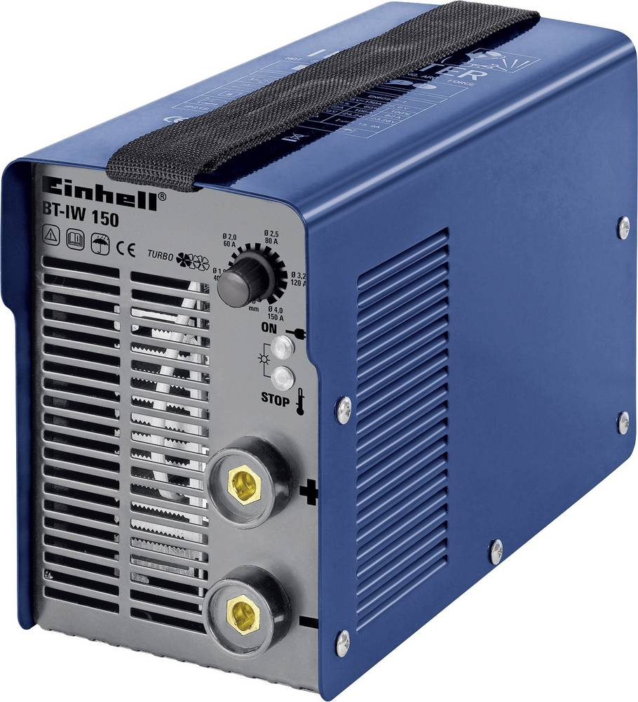 Einhell inverterski varilni aparat 1544150 obratovalna napetost 230 V/50 Hz varilni tok 20 - 150 A premer elektrode 1,6 - 4 mm
