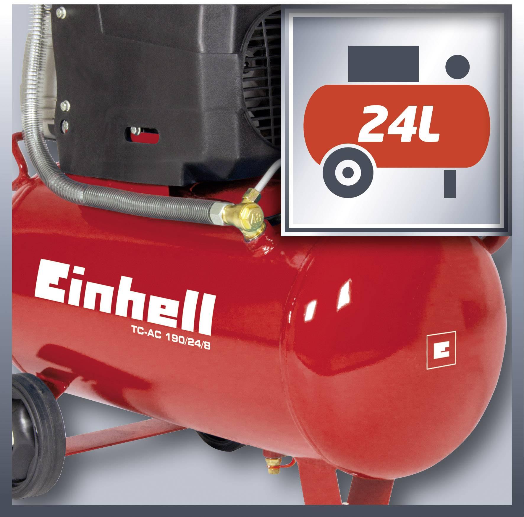 Compressore Einhell TC-AC 190//24//8 Compressore Rosso//Bianco//Metallico Rosso /&4000832470 Set di 5 Accessori Metallo 1500 W 230 V