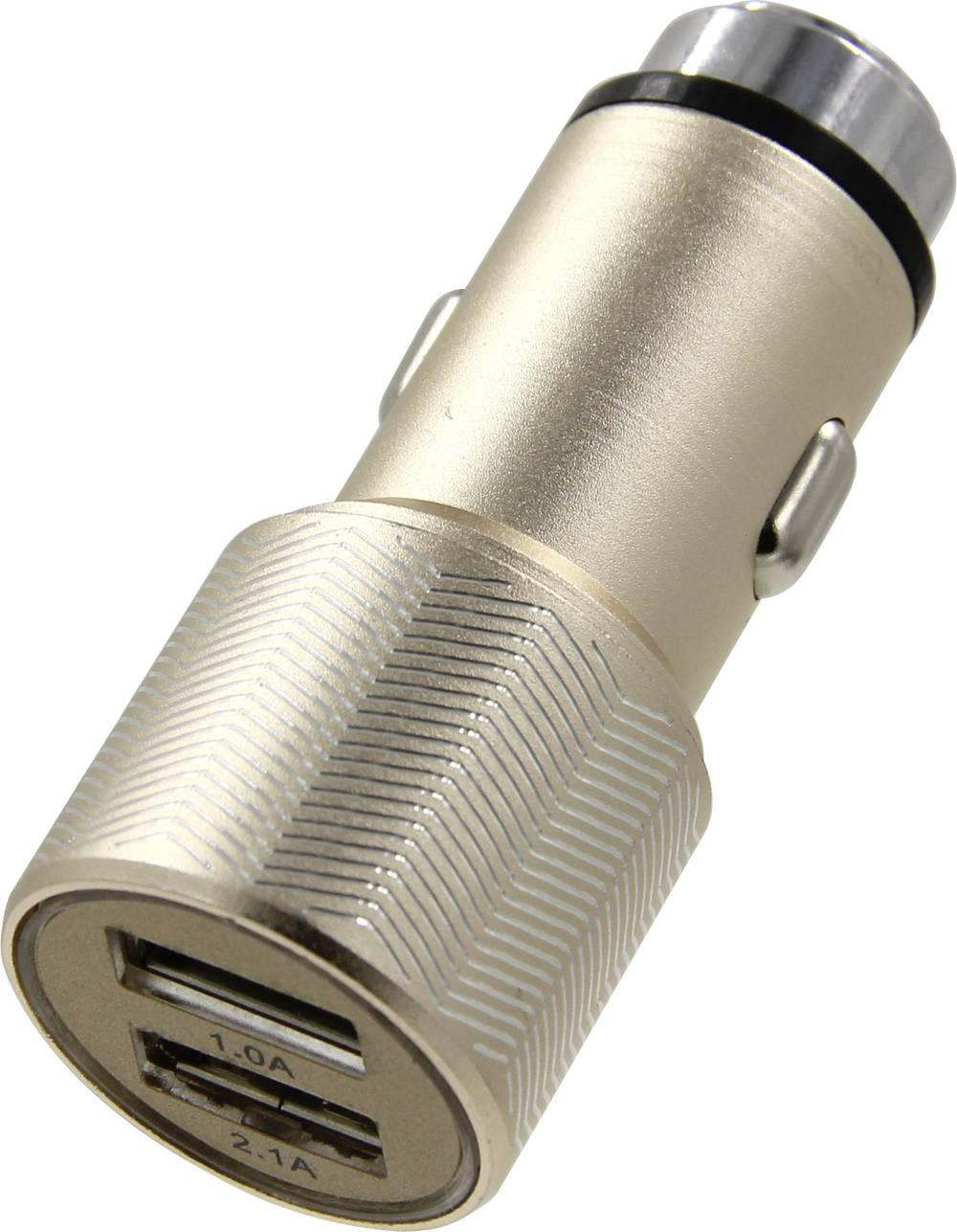ACE Kfz-Ladegerät mit 2 USB-Anschlüssen und Nothammerfunktion Metallic-Gold 12 V til 5 V, 24 V til 5 V 3.1 A Cigarettænder-stik