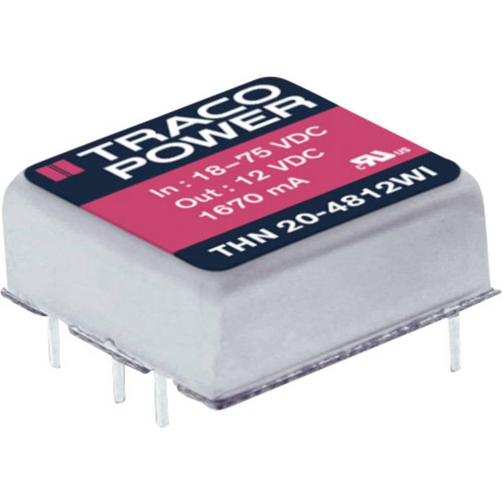 DC/DC pretvornik za tiskano vezje TracoPower THN 20-2422WI 24 V/DC 833 mA 20 W št. izhodov: 2 x