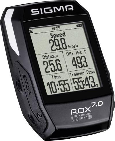 Bike computer (cordless) Sigma ROX 7.0 GPS Black Coded transmission