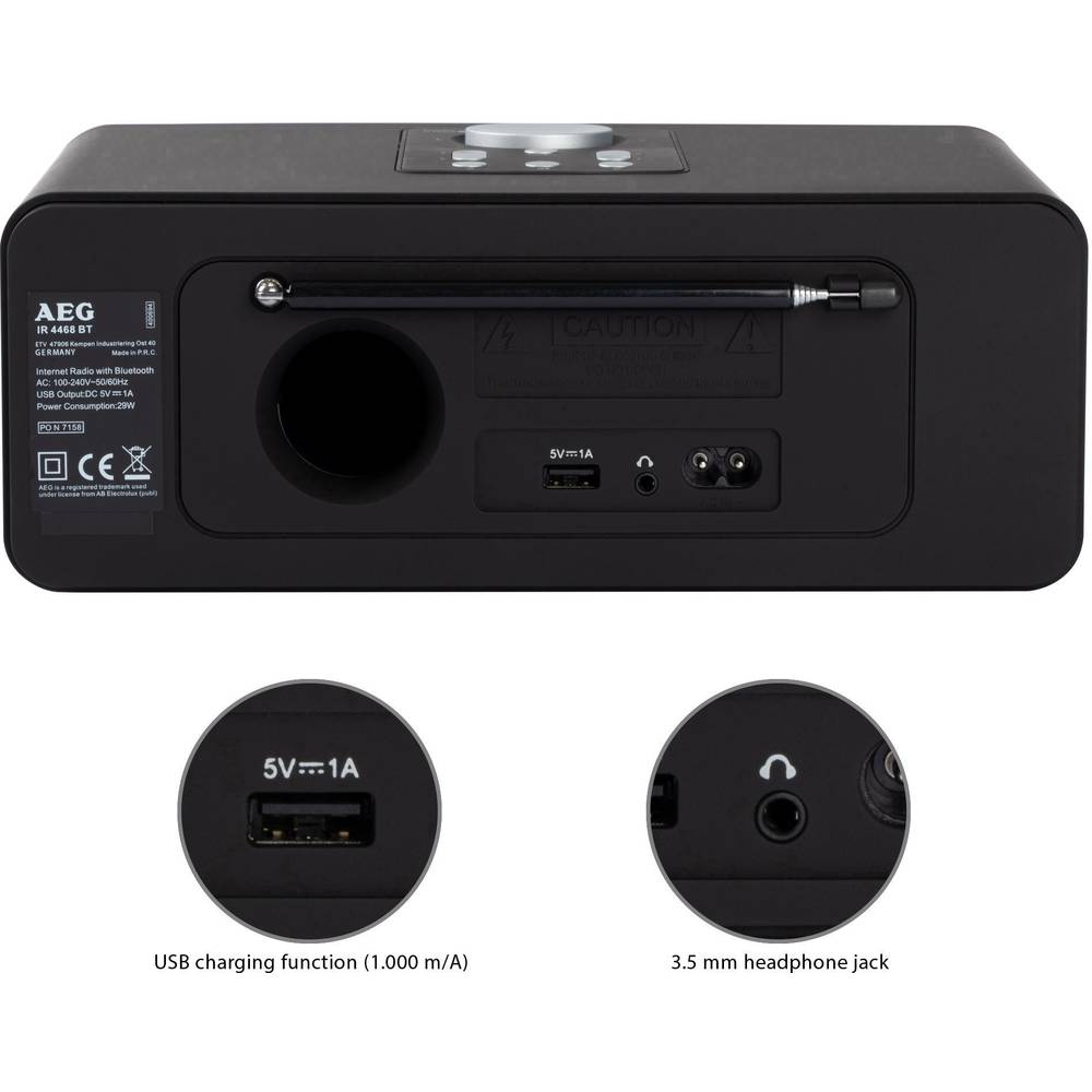 Internet Table Top Radio Aeg Ir 4468 Bt Bluetooth Fm Receiver For Battery Supply Usb Wifi Charger Black